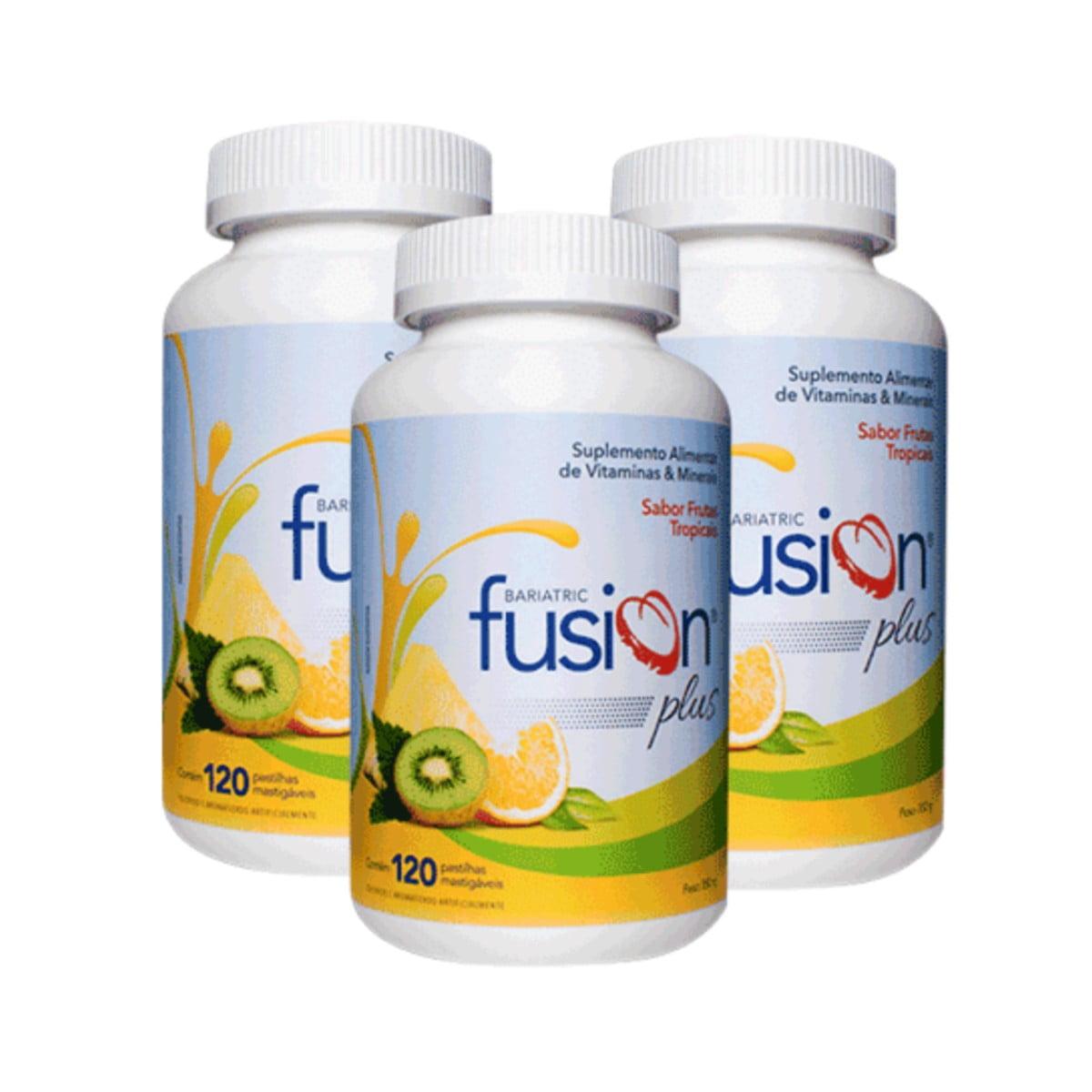 Kit c/3 Bariatric Fusion Plus 120 Pastilhas Mastigáveis - Sabor Frutas Tropicais